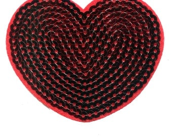 Red Sequins Heart Patch 8cm