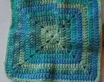 Spring Green Granny Square Crochet Cotton Washcloth