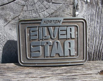Vintage Norton Tools Silver Star Pewter Belt Buckle, Advertising Buckles, Collectible Belt Buckles, Vintage Accessories, Norton Silver Star