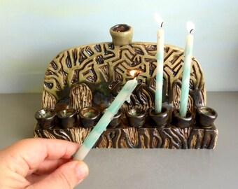 Menorah, Ceramic menorah, Hanukkah menorah, Hanukkah decorations, Ceramic tree of life menorah, Modern menorah, Rustic menorah, חנוכייה, Art