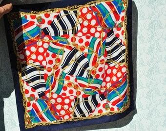 Scarf, retro scarf, 80s scarf, colorful scarf, Italian scarf, Italian shawl, 80s shawl, art deco scarf, colorful scarf, chain scarf