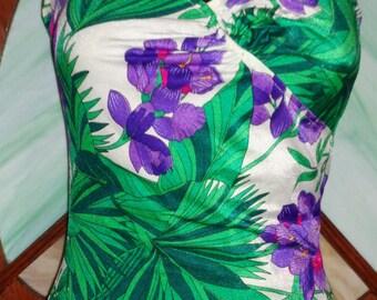 Vintage Jantzen Swim Suit/Bathing Suit and Maxi Length Sarong Set - Size Medium - Tropical Florals - Beach Pinup