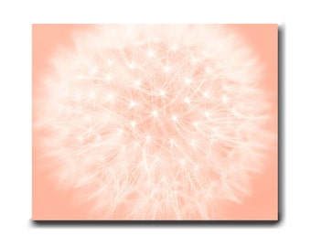 Dandelion photography large gallery wrapped canvas, dandelion art abstract floral artwork, nursery room wall art, bedroom peach wall decor