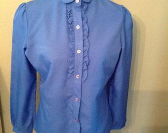 Bobbie Brooks Vintage Blouse.....Cornflower Blue Color.....Front Buttons....Tuxedo styling
