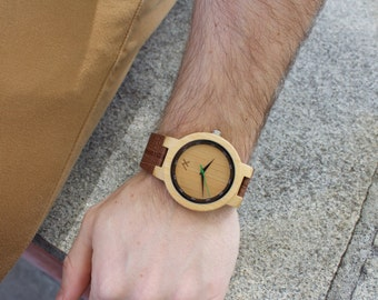 Mens Bamboo Wood Watch, Engraved Watch, Wooden Wrist Watch, Gift for Him, Wood Watch, Personalized Wooden Watch, Mens Wood Gift, Anniversary