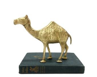Vintage Brass Camel Figurine Carved Three Wise Men Nativity Scene Magi Kings Christmas Decor Etched Engraved Desert Animal Dromedary Statue