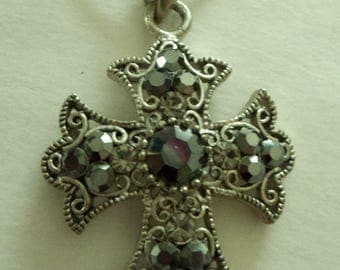 Black Rhinestone Silver  Celtic Cross Necklace with Chain