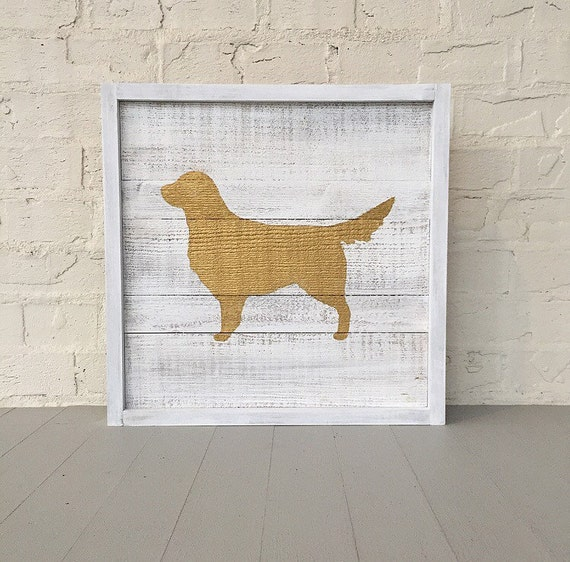 Golden Retriever Framed Wood Sign l Gold Metallic Dog on Distressed Rustic Framed Wood Sign