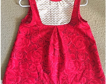 Red Roses dress for 18 month - 2 year old girl