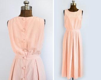 1990s Silk Linen Maxi Dress with Button Back in Blush Pink Medium
