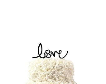 wedding cake toppers Love with clover, other colors also possible, custom made cake topper