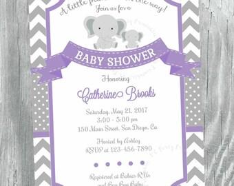 Elephant Baby Shower Invitation. Little Peanut Baby Shower. Grey and Purple Chevron baby shower invitation. Digital file.