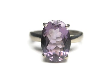 Vintage Sterling Oval Amethyst Ring Size 5.5