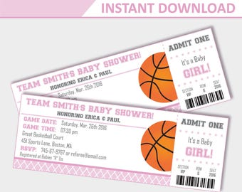 Pink Basketball Baby Shower Invitations - Baby Shower Invitation for Girls - Basketball invitation - Ticket invitation (Instant Download)