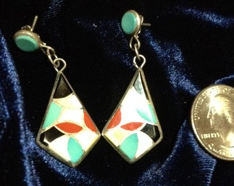 Zuni, Handmade, Sterling Silver, Turquoise, Coral Shell Earrings - what woman wouldn't this for #MothersDy or her birthday?