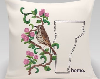 Throw pillow-Throw pillow cover-Embroiderd throw pillow -USA State-Vermont Hermit Thrush and Red Clover Medley-Handmade pillow-Home Decor