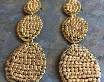 Gold hoop statement earrings wire wrapped with gold beads