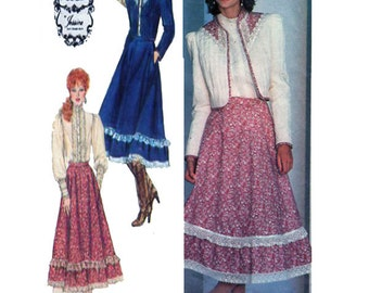Simplicity 5491, GUNNE SAX, Women, Victorian Style, Blouse, Full Circle Skirt, Short Waist, Quilted Jacket, Sewing Pattern, Size 8