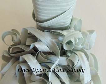 Platinum Gray Fold Over Elastic for Baby Headbands - Up To 5 Yards of 5/8 inch FOE Craft Grey Silver Solid Color Colour Elastic By The Yard