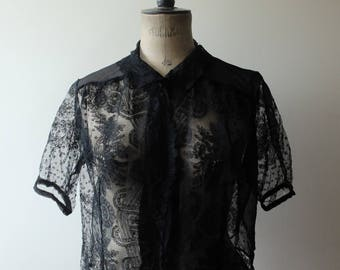 1940s black chantilly lace blouse, short sleeved blouse, vintage blouse, antique lace blouse, top, size medium
