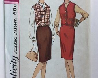 Vintage 1960's Simplicity 4620 Misses'  Skirt and Vest Weskit Pattern Size 14 Bust 34 uncut