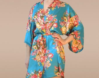 caribbean blue robe, blue floral robe, turquoise bridesmaid dress, teal bridesmaid dress, blue kimono