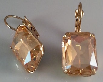 Champagne Earrings - Lt Topaz Earrings - Crystal Earrings - Wedding Earrings - Bridal Earrings - Dawn Santucci - Metal di Muse