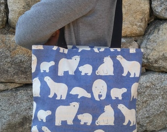 White bear canvas bag / Cotton tote bag / Light weight fabric bag / Market bag