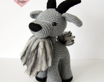 MADE TO ORDER: Amigurumi Black Horns Goat Crochet Stuffed Toy