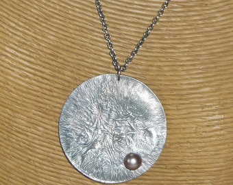 """Sterling Silver 2"""" Reticulated Disc with Taupe Brown Fresh Water Pearl"""