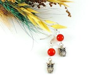 Red carnelian Gemstone earrings Carnelian jewelry Silver owl earrings Pretty earrings Gift ideas fo girls Orange stone earrings feminine