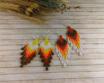 Tassel jewelry Dangle earrings Beaded earrings Fringe earrings Yellow orange boho earrings Fall earrings Gypsy earrings Autumn earrings