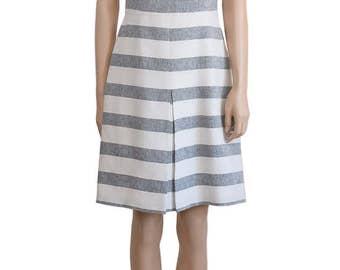 Vintage Dress, Gray and white Stripe Dress, J.Crew Dress, Women's Dress, Day Dress, Summer Dress, Weddings, Gift For Her, Dress, White Dress