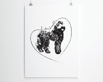 Labradoodle Doo!  Giclee Labradoodle Print. Dog Lovers Print