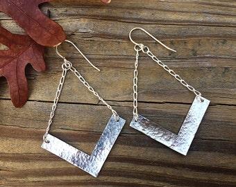 Chevron Earrings, Sterling Silver Triangle Earrings, Long Hammered Dangle Earrings, Drop, V Jewelry, Geometric Earrings