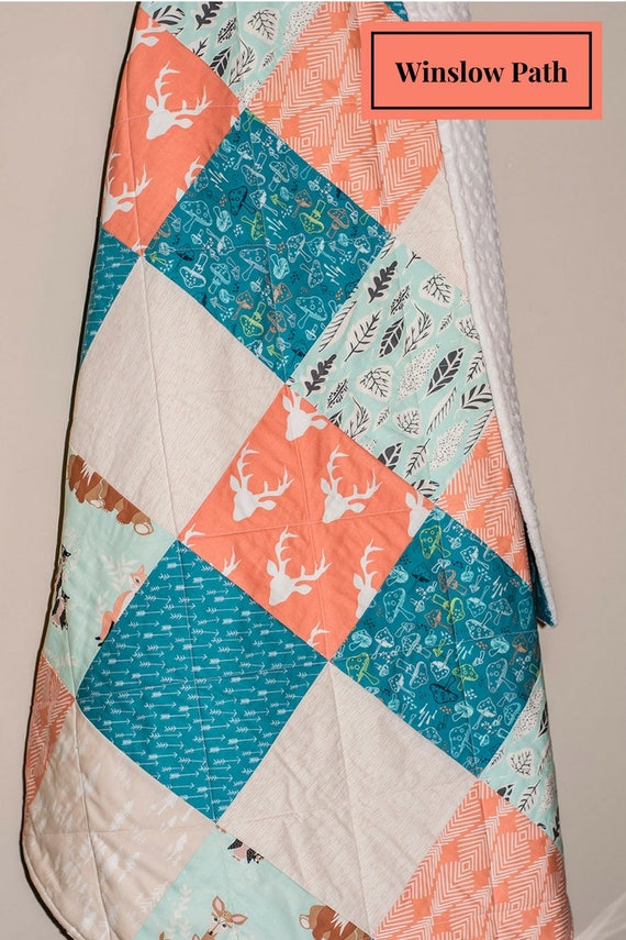 Baby Girl Quilt Moose Baby Quilt Woodland Baby Quilt Coral