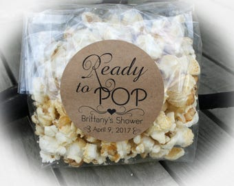 Ready to POP Baby Shower Favor labels - personalized labels ONLY (popcorn & bags are NOT included) | Popcorn Baby Shower Favor tags-pni