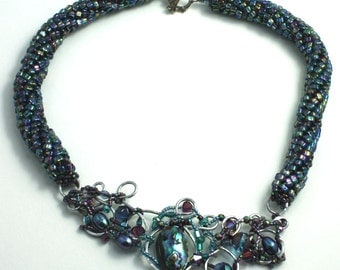 Stunning Beaded Silver Frame Necklace