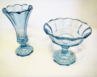 Blue Wedding Decor Glass Vase and matching Candy Dish, Set of two Blue Glass Flower Vase and Compote Bowl, Vintage Blue Wedding Table Decor
