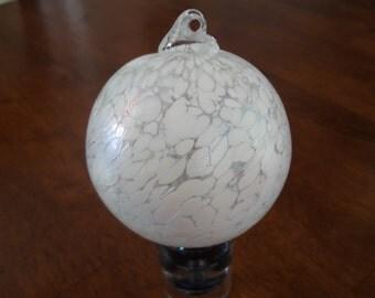 """Vintage Art Glass Hand Blown Textured White Witches / Friendship Ball 3 1/4"""""""