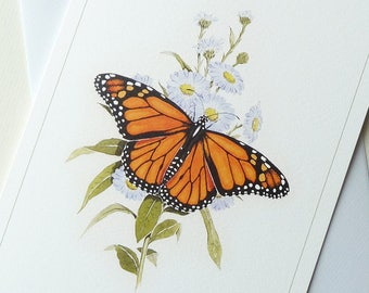Butterfly Card, 'Monarch' Butterfly from an original Watercolour Painting by Alan Clow