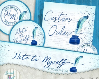 Etsy Shop Sets, Pre-made Shop Banner Set, Personalised Shop Banners, Avatar, Custom Order, PU Only, Printable Images - 'Note to Myself'