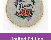 Fierce embroidery kit, embroidery pattern, fierce females, modern hand embroidery, I Heart Stitch Art, iheartstitchart, DIY hoop art