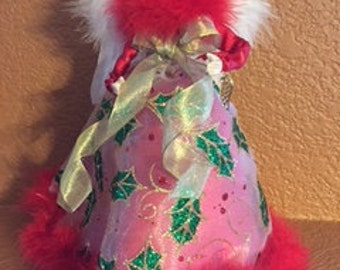 Sassy Holly Berry Angel ~ 9 in Treetop or Tabletop Angel by PFeignCottage