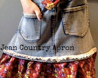 Jean Half Apron Denim Fruit Berry Fabric Blue Jeans Country Cooking Apron with Pockets