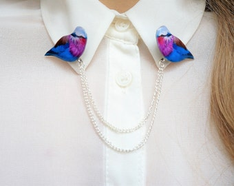 bird collar pins , collar brooch , bird double brooch , colorful bird jewelry , colorful bird brooch , collar badge , bird badge