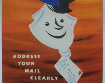 Original 1950s GPO Poster 'Address your Mail Clearly' by Harry Stevens