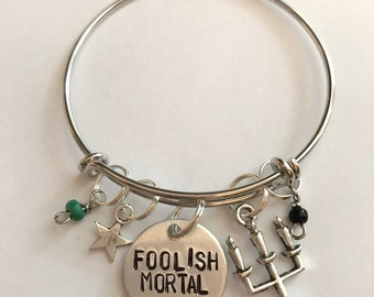 "Disney Parks Haunted Mansion Inspired Hand-Stamped Bangle Bracelet - ""Foolish Mortal"""
