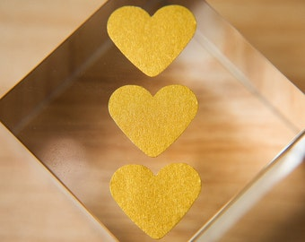 Old Gold heart stickers. Envelope seals, gift stickers, bag stickers, gift box seal, favour bag, wedding labels Stationary. Love hearts