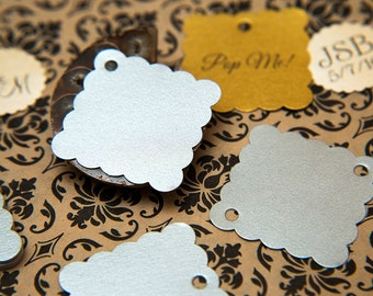 "50 Silver Pearlised 1.5"" Square Luxury Gift Tags, Blank Tags, Wishing Tree, Wedding favour tags, Jewellery Tags, wedding favors 1.5 inch"